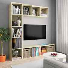 vidaXL 3 Piece Book/TV Cabinet Set Sonoma Oak Display Stand Storage Organiser