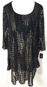 ALFANI Womens Plus 3X (26/28) Black Gold Velvet Burnout Stretch Lined Tunic NEW