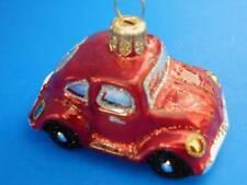 MEDIUM RED VW BUG BEETLE EUROPEAN HANDPAINTED GLASS CHRISTMAS TREE ORNAMENT CAR