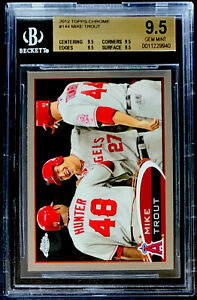 2012 TOPPS CHROME #144 MIKE TROUT ROOKIE BGS 9.5 GEM MINT 4X9.5 ANAHEIM ANGELS
