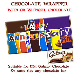 Happy Anniversary Chocolate Bar Wrapper Novelty Gift Present for Husband Wife