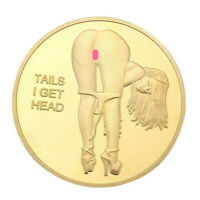 Heads I Get Tail -Tails I Get Head Sexy Girl Flipping Coin Gold Finish US SHIPP