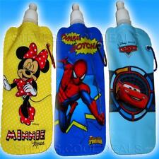 COLLAPSIBLE KIDS DRINK WATER BOTTLES ROLLS UP EMPTY SPIDERMAN MINNIE MOUSE