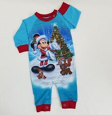 Mickey Mouse Christmas Sleeper 3 Month Disney Parks Pooh Holiday Blue One Piece
