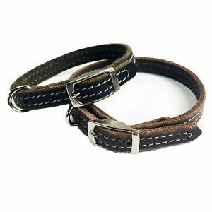 "1/2"" Handmade Solid Buffalo Leather Dog Collar with Stitched Edges"