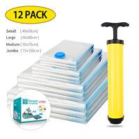 12pcs Vacuum Storage Bags Travel Space Saver Hand Pump Garment Clothes Seal Bags