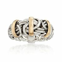 Ross-Simons Two-Tone Byzantine Ring in Sterling Silver with 14kt Gold