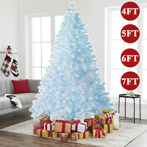 Christmas Tree 1.2/1.5/1.8/2.1M 4/5/6/7FT with LED Lights Xmas Decorations White