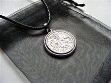"1960 Lucky Sixpence Charm Necklace 18"" & 2"" Ext Chain - 60th Birthday Gift 2020"