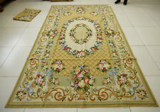 6' X 9'Beautiful Floral Hand Knotted Needlepoint Rug Flower Art Urn Beige Oliver