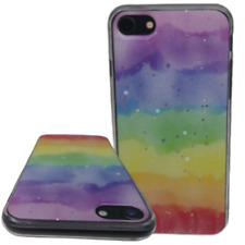 Case For iPhone 11 7 8 Xr Slim protective Rainbow TPU Pattern Apple Phone Cover