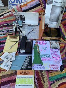 Minox Wetzlar Subminiature Model B Spy Camera Germany Cold War w/Case Manual Box