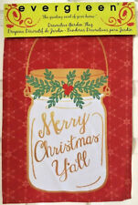 Evergreen Garden Flag Canning Jar Merry Christmas Y'all Suede Reflections NIP