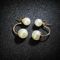 Boucles d'Oreilles Clous Double Perle Blanche Prix CHOC PROMOTION AVRIL MAI EE 1