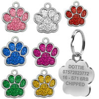 Engraved Pet Tag Dog Cat Personalised Name Charm ID Collar Animal Paw Glitter UK