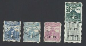 Tunisia 1922 Postage Dues unissued values ovpt. T.D. for Customs  used & MH (4)