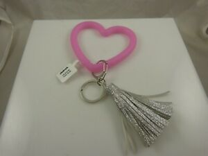 Heart bling glitter tassle keychain bag tag hook key chain