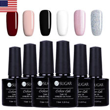 6Pcs Glitter Uv Gel Nail Polish Set Soak Off Black White Manicure Tools Ur Sugar