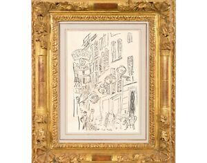 Raoul Dufy Modernist ink art drawing Paris Parisienne Cafe Street Scene