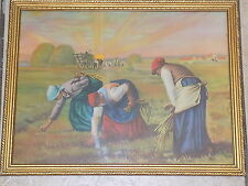 Framed print on paper of 19th century American laborors harvesting, early 1960s