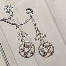 Silver Plated Costume Tibetan Pentagram & Celtic Triquetra Earrings Wicca Pagan