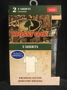 MOSSY OAK CAMO T-SHIRTS, MENS 2 PACK SMALL 34-36""