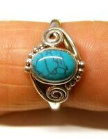 925 Sterling Silver Oval Turquoise Stone Boho Patterned Ring (8 x 6 mm) Size R