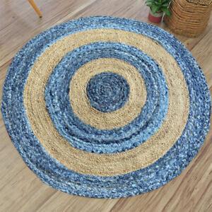 Rug Jute & Denim Round Reversible Handmade Area Carpet Modern Rustic Look Rug