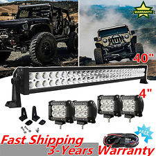 "40Inch 42"" Offroad LED Light Bar + CREE 4""18W Work Pods Bumper Fog 4x4 Jeep SUV"