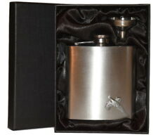 Pheasant Hip Flask 6oz Brushed Chrome Gift Boxed Hunting Drinking Accessory