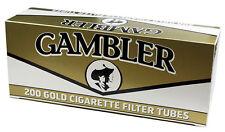50 Boxes GAMBLER Regular GOLD RYO Light King Size Filter Tubes/200ct per Carton