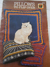 1976 Pillows to Flip Over Knit Crochet Pattern Book 252 Indian Floor Coats Clark