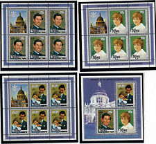 NIUE 1981 ROYAL WEDDING SET 3 SOUVENIR SHEETS & MINIATURE SHEET OVERPRINTED MNH