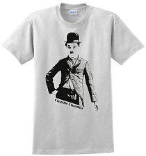 Charlie Chaplin T-shirt. Gray,White, Green, Khaki, Yellow. Size: Small thru XXL