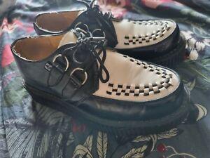 T.U.K. Shoes Black White Leather Creeper
