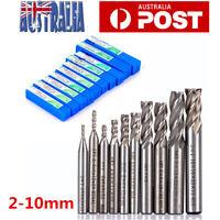 10Pcs 4 Flute Milling Drill Bit Cutter HSS-Al Carbide End Mill CNC Tools 2-10mm