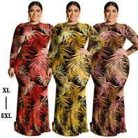 Women's Sexy Printing Long Sleeve Maxi Dresses Bodycon Evening Ball Gown Dress