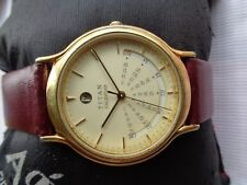 VERY RARE VTG GOLD PLATED INDIA TITAN CALENDAR MENS WRISTWATCH