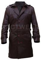 Buy Watchmen Rorschach Men's Stylish Trench Brown Leather Coat -HALLOWEEN SALE!!