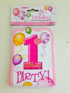 One-derful Girl 1st Pink Birthday Party Invitations for 8 Pink Party Invitations