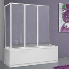 Box vasca 68x133 parete sopravasca pieghevole alluminio bianco e acrilico novità