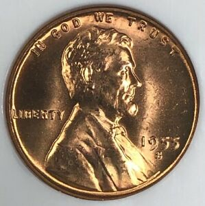 1955 S NGC MS67 RD Lincoln Wheat Cent 1c ~ EXCEPTIONAL TOP POP CHERRY RED GEM