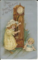 BA-449 Many Happy Returns, Two Girls & Cat 1907-1915 Golden Age Postcard Vintage