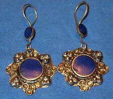 "Earrings Circle Lapis Afghan Kuchi Tribal Alpaca Silver 1 1/2"""