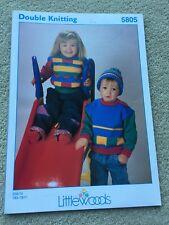 "Littlewoods DK Childs Jumper & Hat Knitting Pattern 22""- 30"""