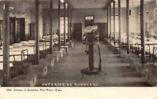 Fort Riley Kansas~Interior of Quarters~Bunks~Foot Lockers~Rifle Stand~1908 PC