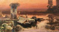 Romantische Abendstimmung am Ufer Italien Copy Ölgemälde um 1900 44 x 83 cm