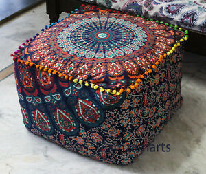 """Indian Mandala 22"""" Square Ottoman Pouf Cover Cotton Footstool Seat Case Covers"""