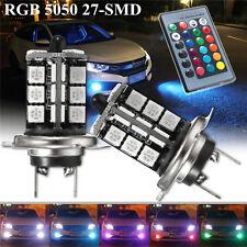 2x H7 5050 LED 27 SMD RGB Auto Nebelscheinwerfer Lampe Birnen + Remote Control