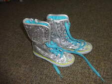 SKECHERS GIRLS 12 SILVER SPARKLE SEQUEN BOOTS SHOES TWINKLE TOES